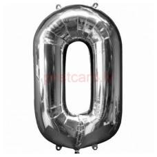 Folijas balons Cipars 0  Sudraba krāsa 86 cm