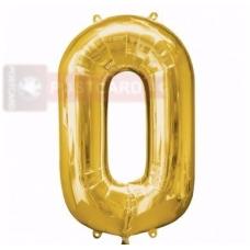 Folijas balons Cipars 0  Zelta krāsa 86 cm