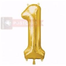 Folijas balons Cipars 1  Zelta krāsa 86 cm