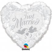 """Folijas balons """"Just married pearl white & silver"""" (45 cm)"""