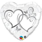 "Folijas balons ""Entwined hearts silver"" (45 cm)"