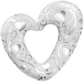 "Kāzu folijas balons ""HEARTS & FILIGREE PEARL WHITE"" (95 cm)"