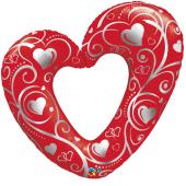 """Kāzu folija balons """"HEARTS & FILIGREE RED"""" (107 cm)"""