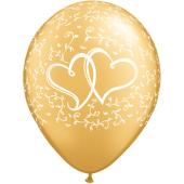 "Kāzu lateksa balons ""ENTWINED HEARTS zelta"" (30 cm)"