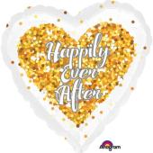 "Kāzu folija balons ""CONFETTI HAPPILY EVER AFTER HEART"" (45 cm)"