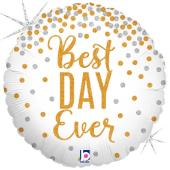 "Kāzu folija balons ""BEST DAY EVER HOLOGRAPHIC"" (45 cm)"