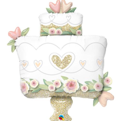 "Kāzu folijas balons ""GLITTER GOLD WEDDING CAKE"" (104 cm)"