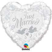 "Kāzu folija balons 'JUST MARRIED PEARL WHITE & SILVER"" (92 cm)"
