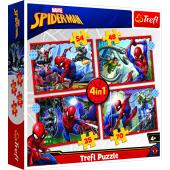 TREFL SPIDER-MAN Pužļu komplekts 4in1 Spiderman