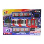 Dzelzceļš ar vilcienu un 2 vagoniem (17 cm), garums 70 cm, ar skaņu un gaismu CHT2760365